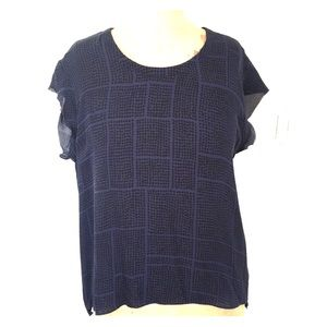 Vince 100% Silk blouse, blue/black geometric, sz M